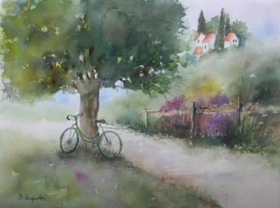 Peinture de Brigitte Dequeker  La vieille bicyclette