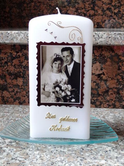 Selbstgestaltete Kerzen  GOLDENE HOCHZEIT