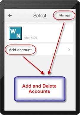 Добавление и удаление аккаунтов в приложении AdSense для iOS