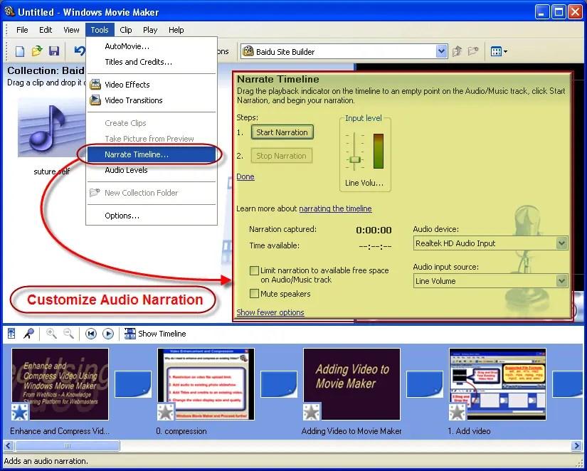 Расскажите свое видео в Windows Movie Maker