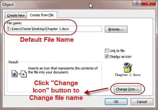 Change Embedded File Name In Word, Excel And Office