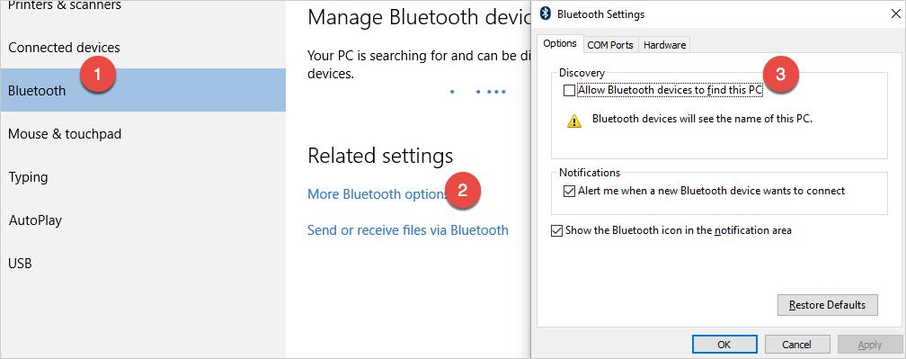 Отключить настройки обнаружения Bluetooth