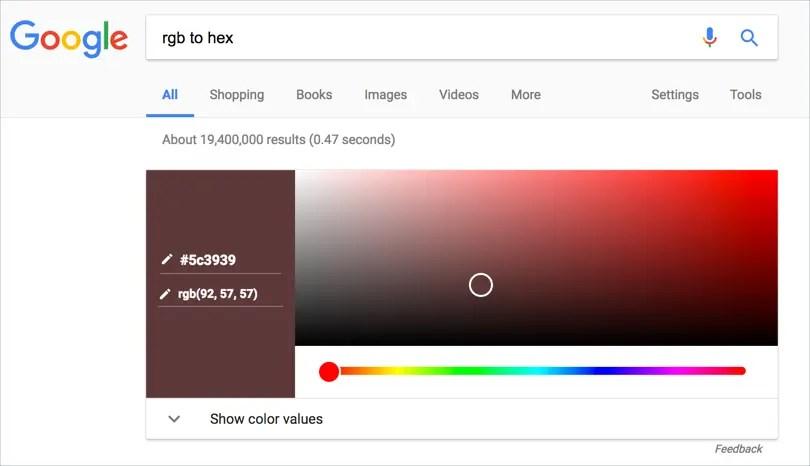 Конвертер цветов и палитра цветов Google