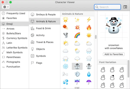 Символы погоды Emoji на Mac