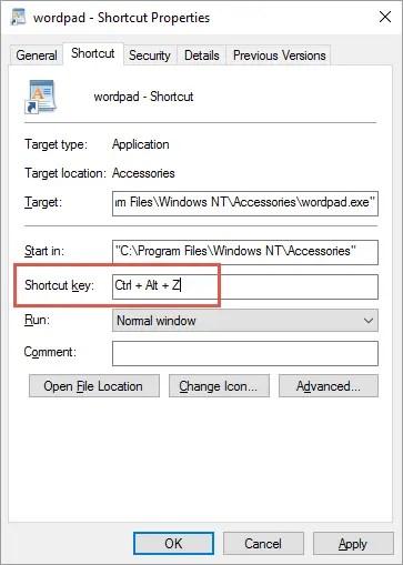 Установить сочетание клавиш для приложения
