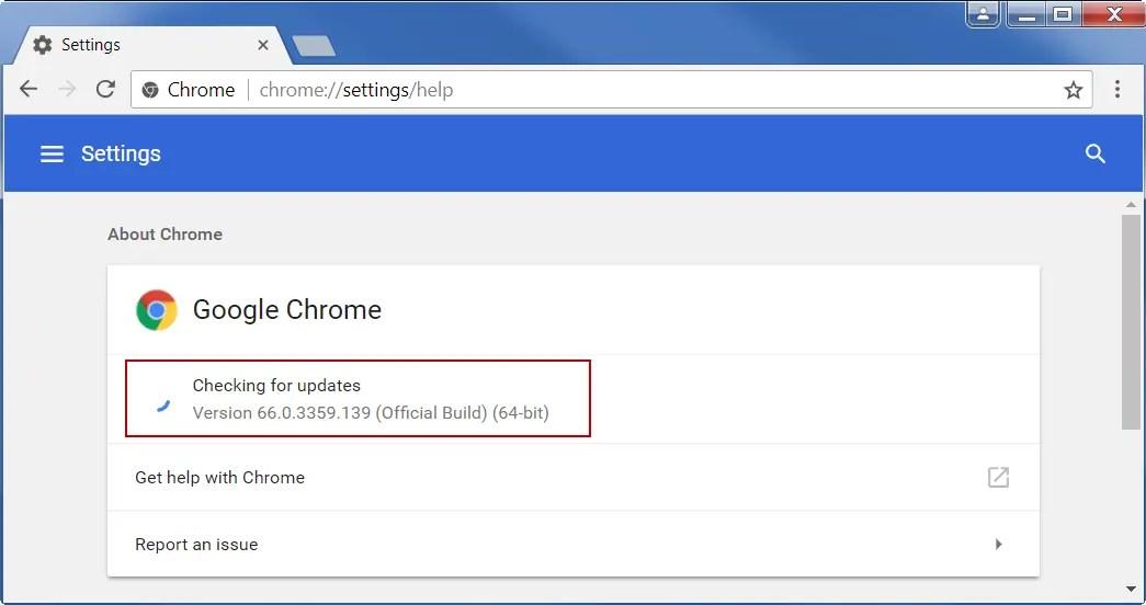 Проверьте версию Chrome с помощью команды справки
