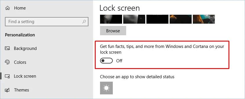 Отключить факты, подсказки, уведомления на экране блокировки