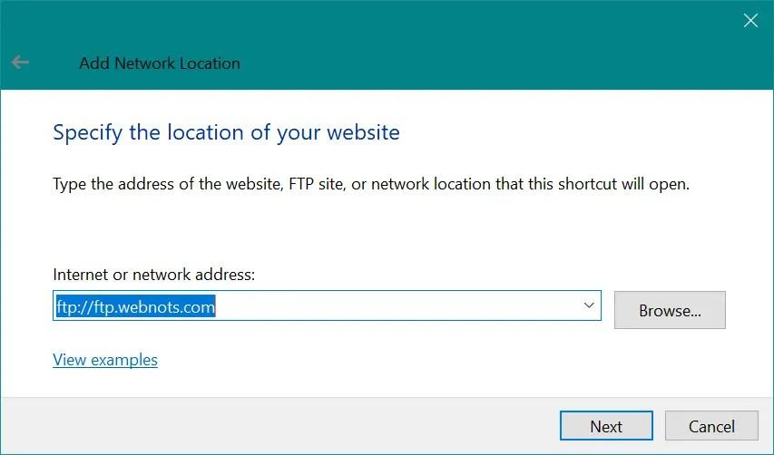 Подключите свой FTP или местоположение