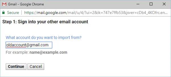 Ввод старого адреса электронной почты