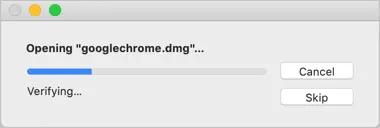 Открытие файла DMG