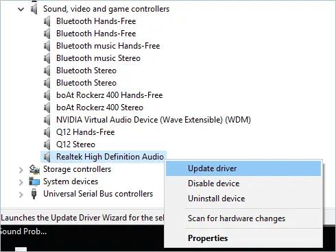 Обновление драйвера для аудио
