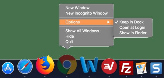 Индивидуальные параметры приложения в Dock