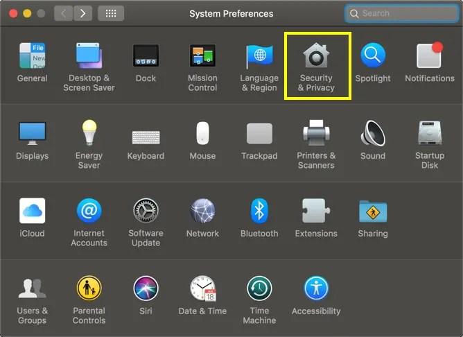 Доступ к настройкам безопасности и конфиденциальности на Mac