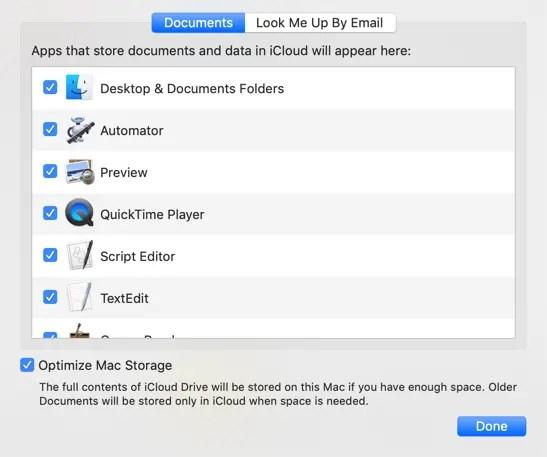 Выберите элементы для синхронизации iCloud