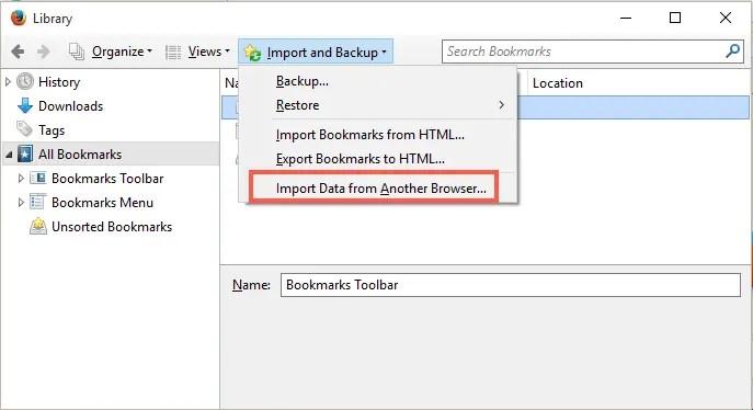 Импорт данных из Chrome в Firefox
