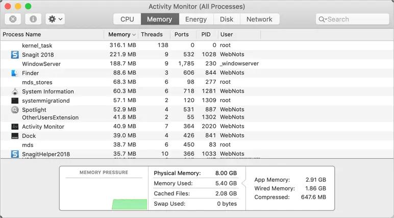 Монитор активности Mac