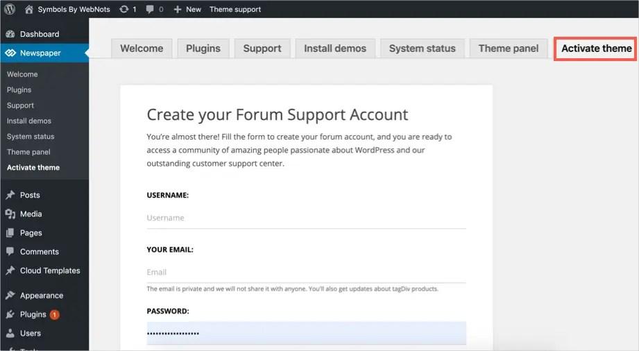 Create a forum account