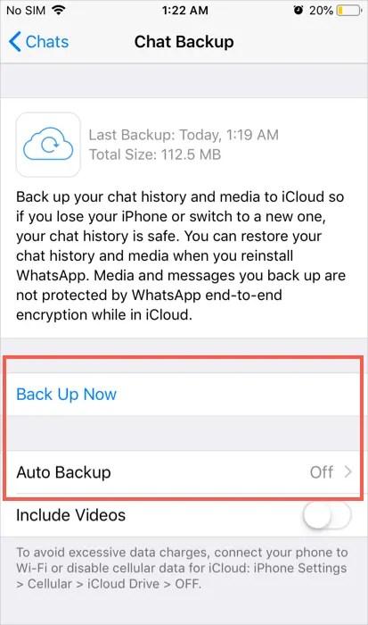 Вариант резервного копирования WhatsApp