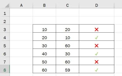 Таблица сравнения Excel с Emoji