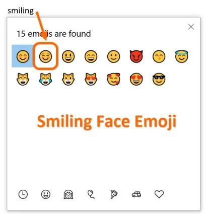 Улыбающееся лицо Emoji в Windows