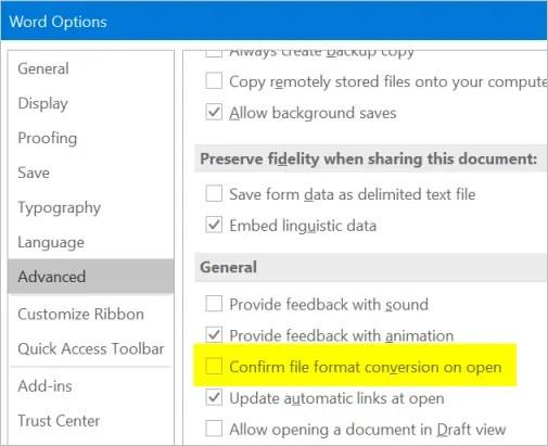 Подтвердить преобразование формата файла при открытии