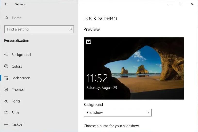 Настройки экрана блокировки в Windows