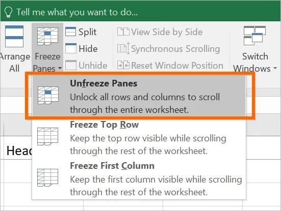 Разморозить панели в листе Excel