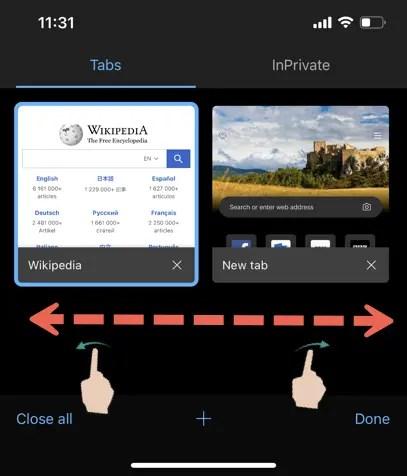 Edge Tabs в приложении для iPhone