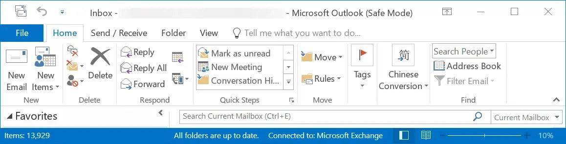 Outlook в безопасном режиме подключен к серверу Exchange