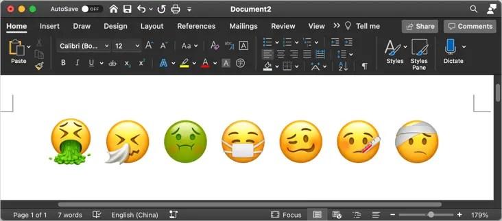 Больные символы эмодзи в Mac Word
