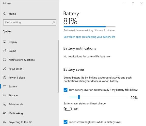 Настройки батареи в Windows