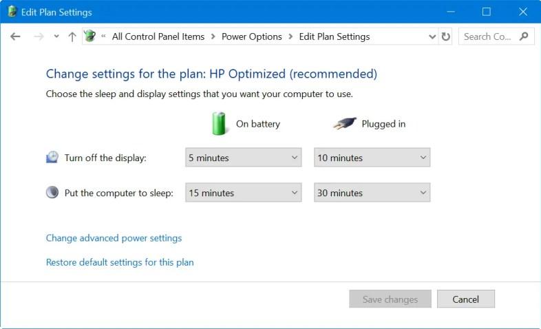 Редактировать планы управления питанием в Windows 10