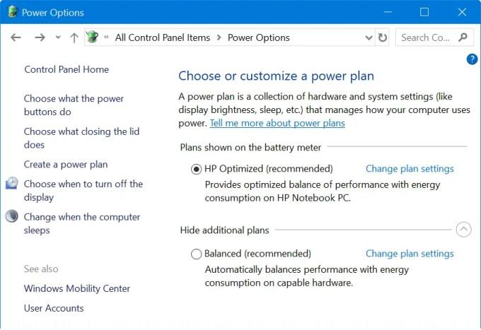 Планы управления питанием в Windows 10