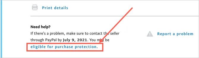 Щелкните ссылку защиты покупок