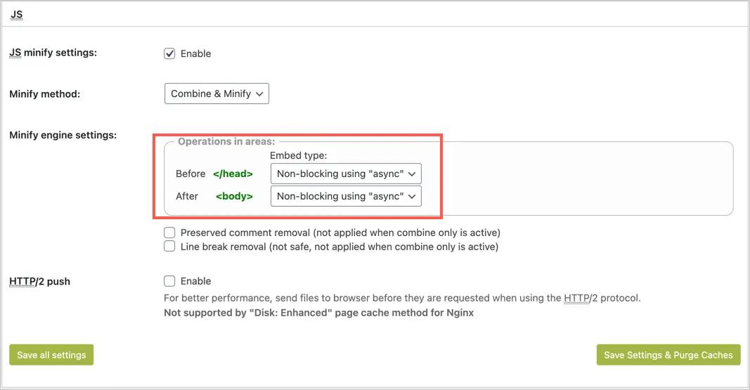 Отрисовка JS с блокировкой в W3 Total Cache