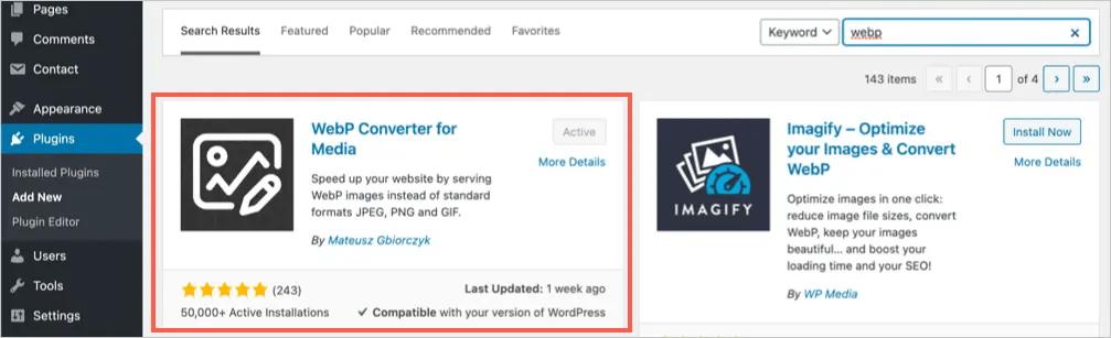 Установите плагин WebP Converter for Media