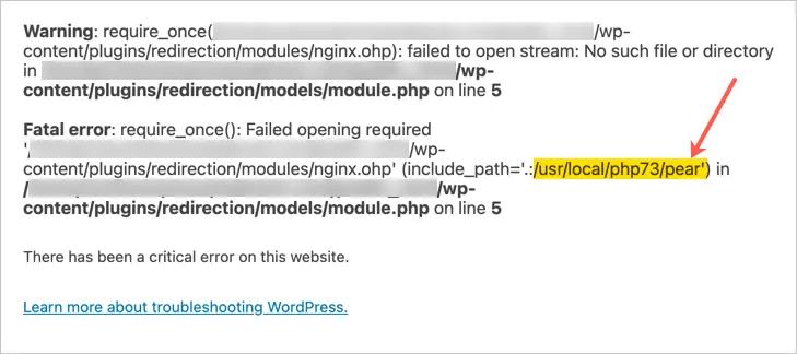 Неустранимая ошибка PHP в WordPress
