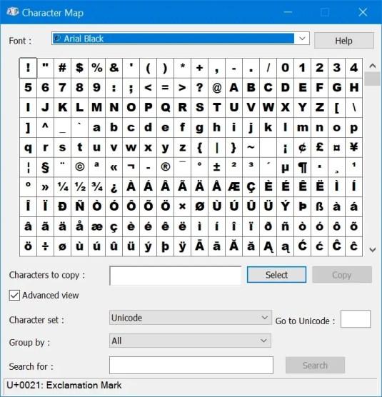 Приложение Character Map на компьютере с Windows