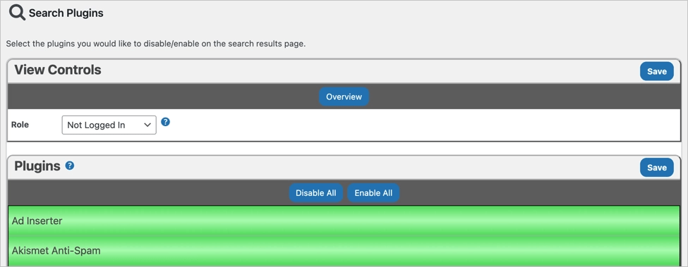 Отключить плагины на странице поиска