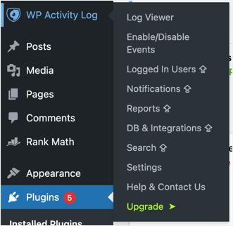 Меню плагина WP Activity Log