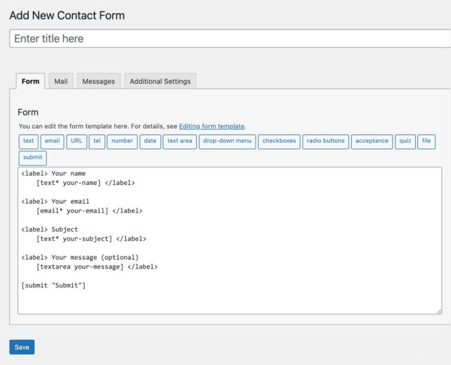 Добавить новую контактную форму