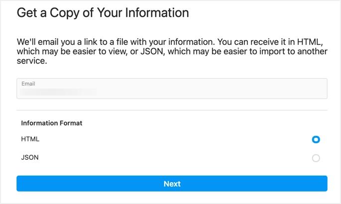 Введите адрес электронной почты и выберите формат