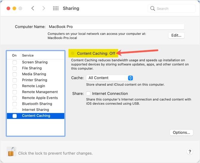 Отключить кеширование содержимого на Mac