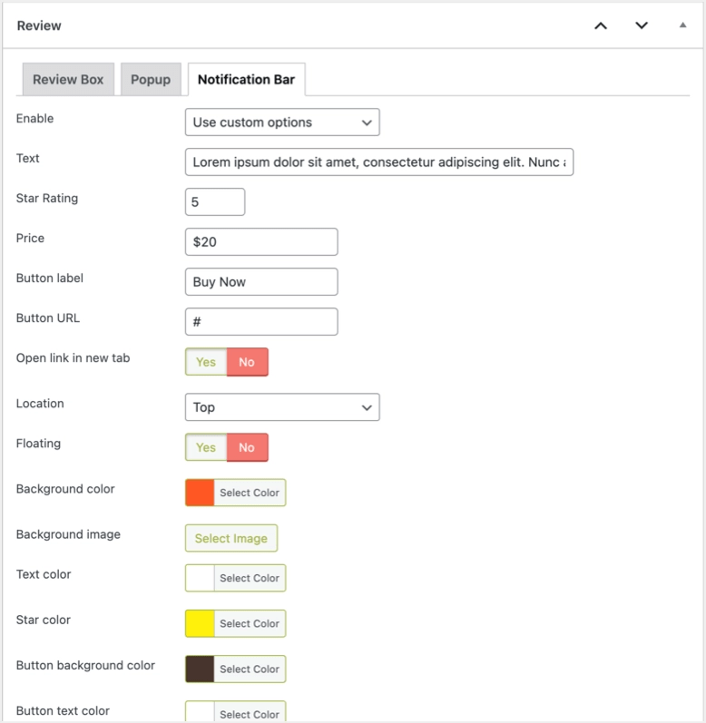 Настройки WP Review Pro для панели уведомлений