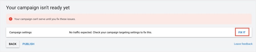 Невозможно опубликовать кампанию