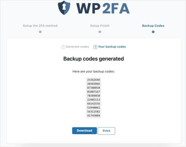 Скачать или распечатать резервный код