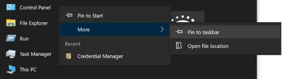 Закрепить приложение панели управления на начальном экране или на панели задач