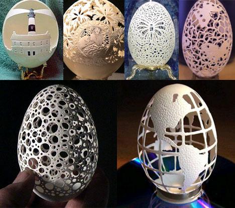 Strange Egg Shell Carving Art