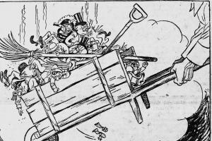 """Ganze Teile der Gesellschaft wurden seit 1917 entsorgt – und Karikaturen (wie diese aus der """"Leningradskaja Prawda"""" von 1935) machten sich die """"Säuberung der Stadt"""" (so der russische Untertitel) zum Gespött."""