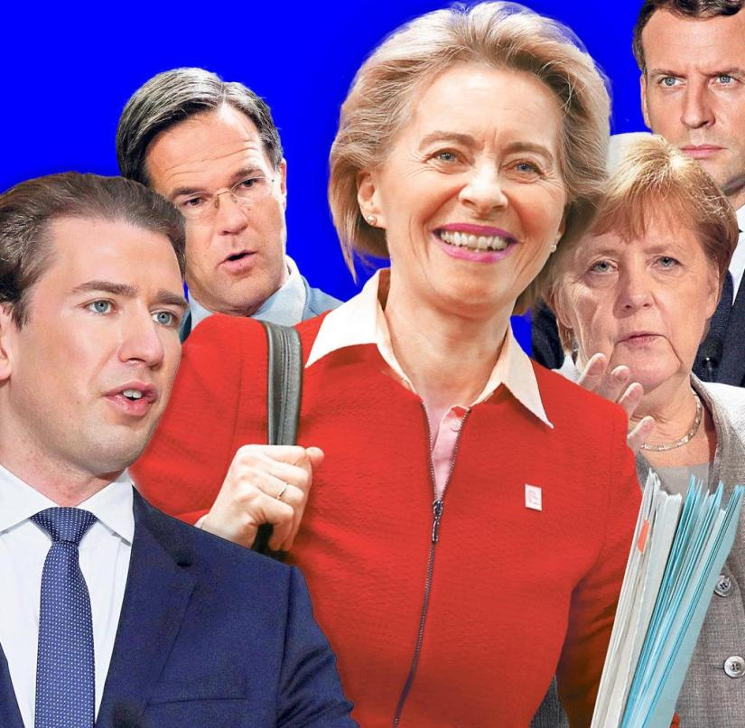 EU Commission President Ursula von der Leyen (center) is not a head of state or government, but she is still very good at pushing through her ideas